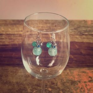 SHADES OF BLUE HANGING BALL EARRINGS